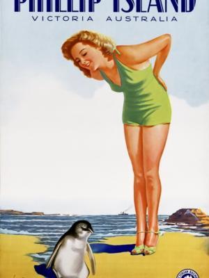 """Купить для интерьера на стену Постер """"Остров Филлипа, Виктория. Возьмите Kodak"""" Австралия 1930"""