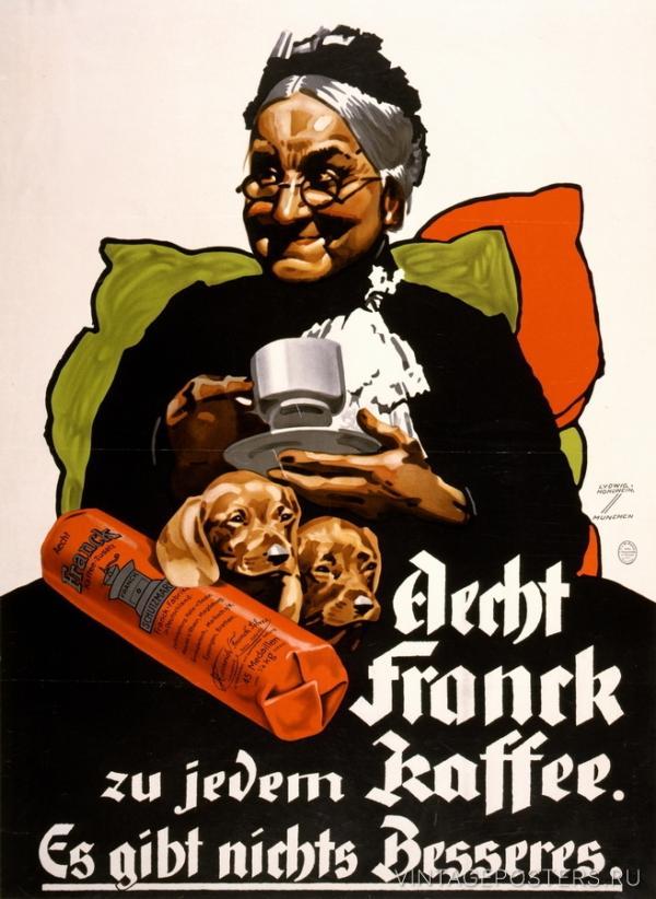 """Купить для интерьера на стену Постер """"Aecht Franck кофе для каждого. Нет ничего лучше"""" Германия 1927"""