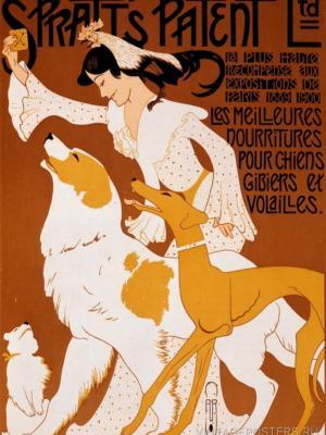 """Купить для интерьера на стену Постер """"Spratt's. Самая лучшая еда для собак, дичи и птицы"""" Париж 1913"""