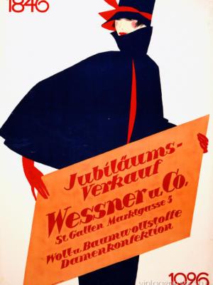 """Купить для интерьера на стену Постер """"Магазин одежды Wessner & Co"""" Санкт-Галлен 1926"""