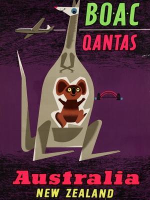"""Купить для интерьера на стену Постер """"Австралия. Новая Зеландия"""" Англия 1950"""
