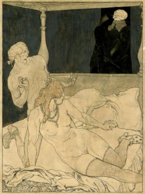 """Купить для интерьера на стену Постер """"Любовники и смерть"""" Франция 1904"""
