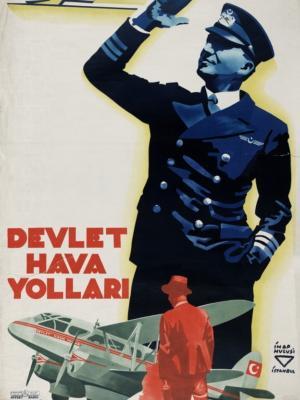 """Купить для интерьера на стену Постер """"Авиалинии Devlet Hava Yolları"""" Стамбул 1938"""