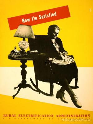 """Купить для интерьера на стену Постер """"Электрификация. Теперь я довольна"""" США 1930"""
