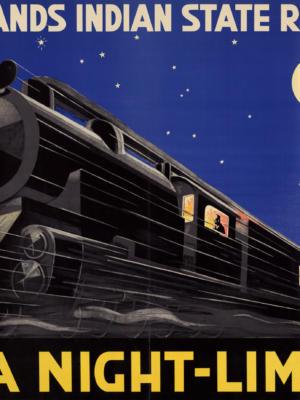 """Купить для интерьера на стену Постер """"Нидерландcкие индийские железные дороги. Java Night-Limited"""" Индонезия 1930"""