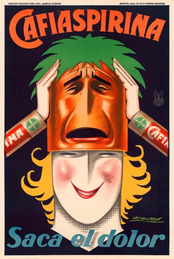 """Купить для интерьера на стену Постер """"Cafiaspirina. Утоляет боль"""" Бразилия 1927"""