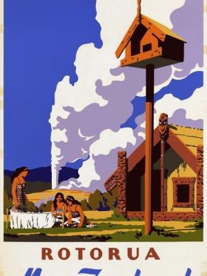 """Купить для интерьера на стену Постер """"Озеро Роторуа"""" Новая Зеландия 1950"""