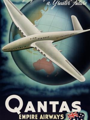 """Купить для интерьера на стену Постер """"Из великого прошлого, большее будущее. Qantas: империя авиации"""" Австралия 1950"""