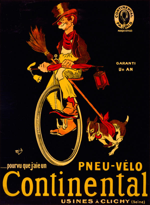 """Купить для интерьера на стену Постер """"Покрышки для велосипеда Continental"""" Париж 1900"""