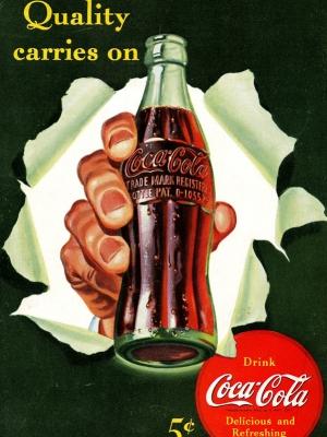 """Купить для интерьера на стену Постер """"Coca-Cola. Quality carries on"""" США 1960"""