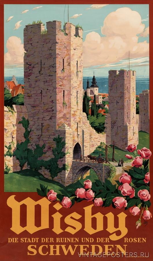 """Купить для интерьера на стену Постер """"Висбю. Город руин и роз"""" Стокгольм 1930"""