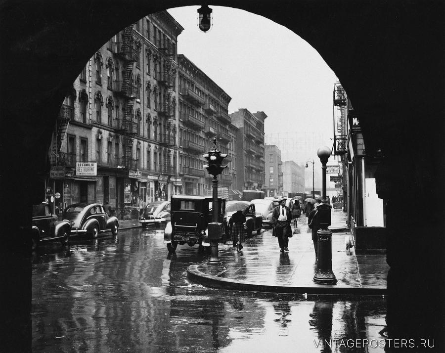 """Купить для интерьера на стену Постер """"110-я улица после дождя"""" Нью-Йорк 1950"""