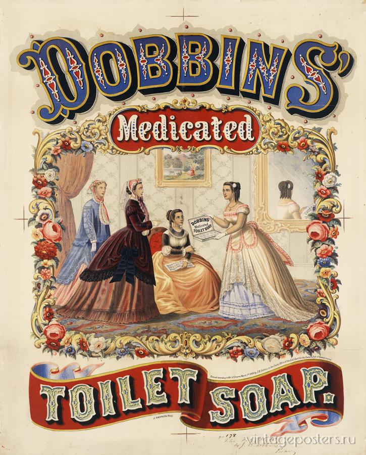 """Купить для интерьера на стену Постер """"Dobbins. Медицинское туалетное мыло"""" США 1869"""