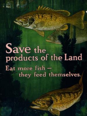 """Купить для интерьера на стену Постер """"Сохраняйте ресурсы страны. Ешьте больше рыбы"""" США 1917"""