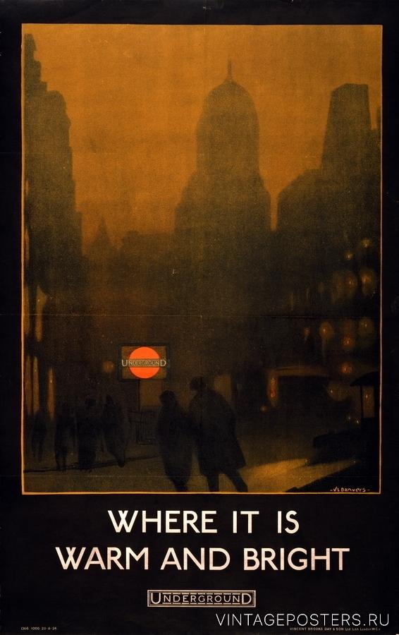 """Купить для интерьера на стену Постер """"Метро. Там где тепло и ярко"""" Лондон 1924"""