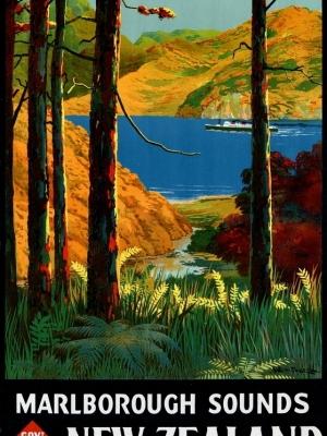 """Купить для интерьера на стену Постер """"Долины Мальборо"""" Новая Зеландия 1934"""