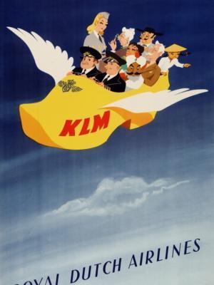 """Купить для интерьера на стену Постер """"Датские королевские авиалинии"""" Роттердам 1947"""