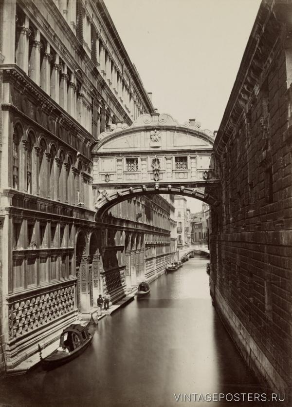 """Купить для интерьера на стену Постер """"Венеция. Мост Вздохов над каналом Rio di Palazzo"""" 1890"""