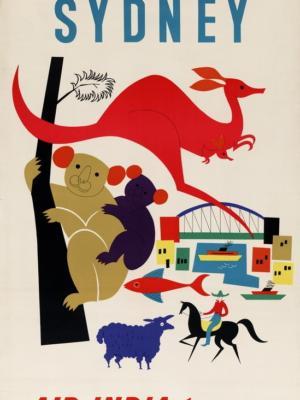 """Купить для интерьера на стену Постер """"Сидней. Air India"""" Бомбей 1959"""
