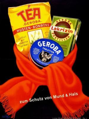"""Купить для интерьера на стену Постер """"Geroba. Для защиты горла и шеи"""" Швейцария 1940"""