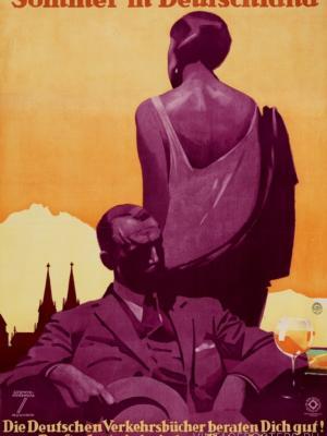 """Купить для интерьера на стену Постер """"Лето в Германии. Ищите путеводители в любом турагентстве"""" Мюнхен 1927"""