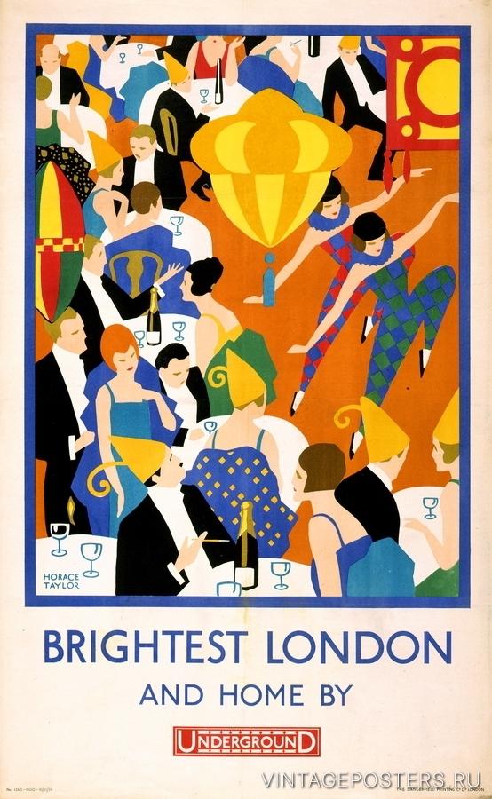 """Купить для интерьера на стену Постер """"Сияющий Лондон и домой на метро"""" 1924"""