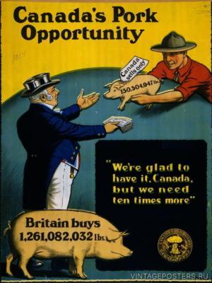 """Купить для интерьера на стену Постер """"Канадская свинина для Британии"""" Канада 1914"""