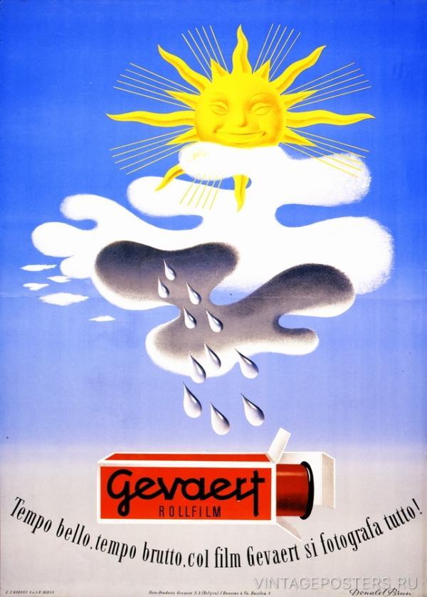 """Купить для интерьера на стену Постер """"Фотопленка Gevaert: отличные снимки в любую погоду"""" Швейцария 1940"""