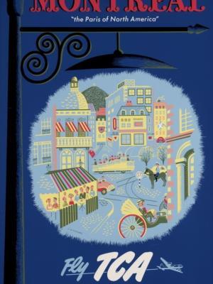 """Купить для интерьера на стену Постер """"Монреаль - североамериканский Париж"""" Канада 1954"""