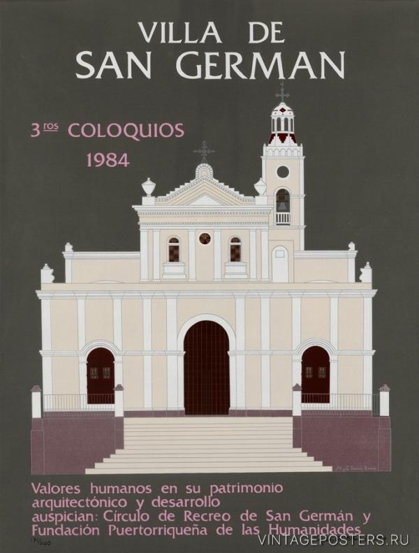"""Купить для интерьера на стену Постер """"Архитектурная выставка. Вилла De San German"""" Пуэрто-Рико 1984"""