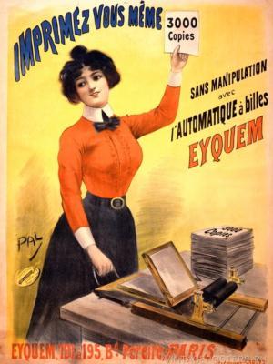 """Купить для интерьера на стену Постер """"Распечатайте 3000 копий документов с машинкой Eyquem"""" Париж 1899"""
