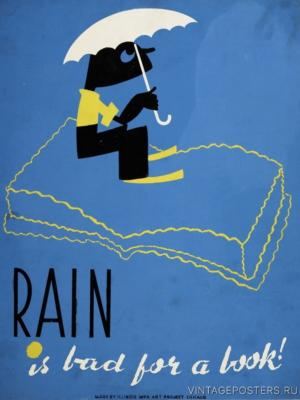 """Купить для интерьера на стену Постер """"Дождь это плохо для книги!"""" США 1936"""
