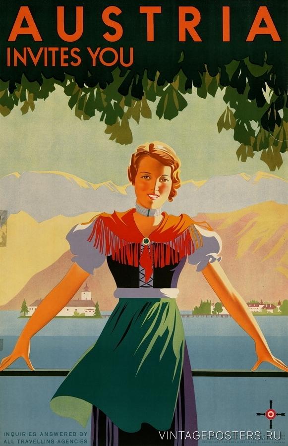 """Купить для интерьера на стену Постер """"Австрия приглашает вас"""" Вена 1934"""