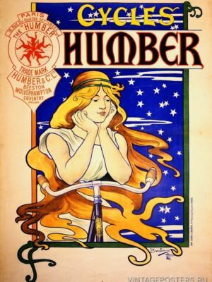 """Купить для интерьера на стену Постер """"Велосипеды Humber"""" Париж 1890"""