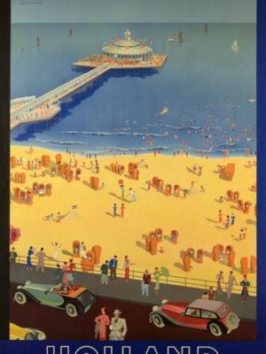 """Купить для интерьера на стену Постер """"Пляж в Схевенингене, Нидерланды"""" Амстердам 1938"""
