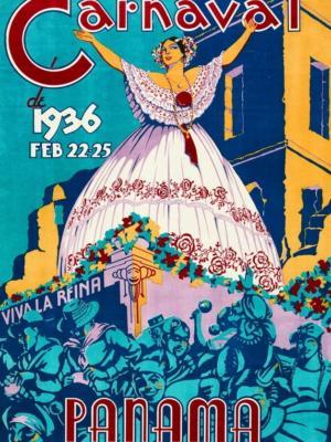 """Купить для интерьера на стену Постер """"Карнавал, 22-25 февраля"""" Панама 1936"""