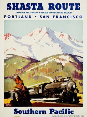 """Купить для интерьера на стену Постер """"Shasta route. Портленд - Сан-Франциско"""" 1950"""