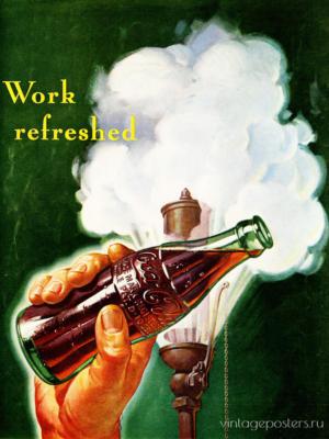 """Купить для интерьера на стену Постер """"Coca-Cola. Work refreshed"""" США 1960"""