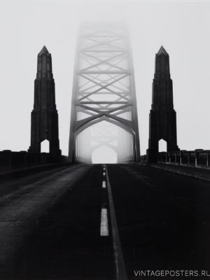 """Купить для интерьера на стену Постер """"Мост Yaquina Bay. Орегон"""" США 1968"""