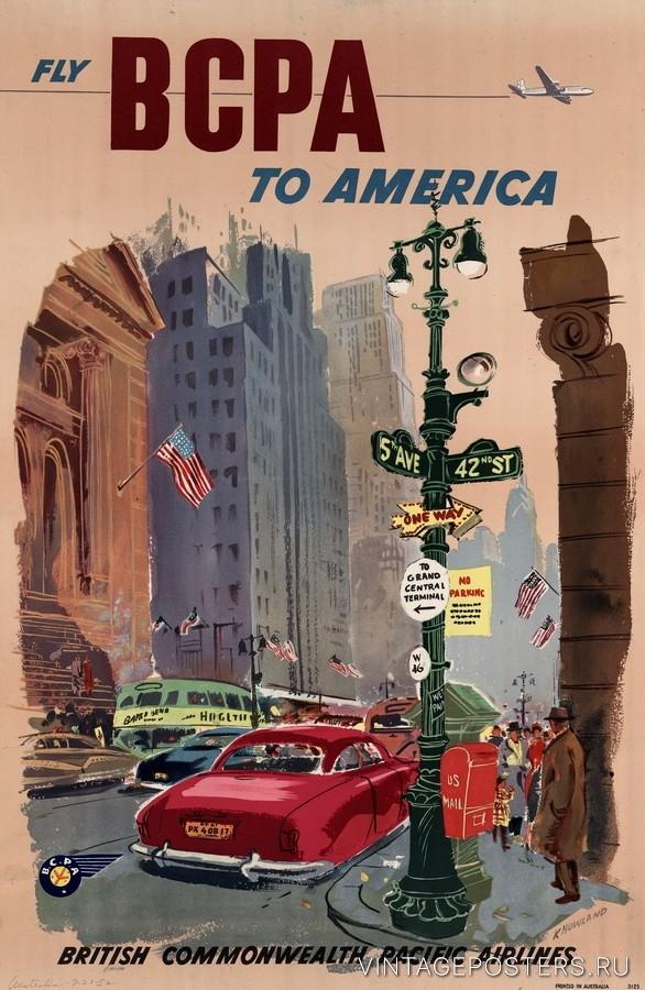 """Купить для интерьера на стену Постер """"5-я Авеню, Нью-Йорк"""" 1952"""