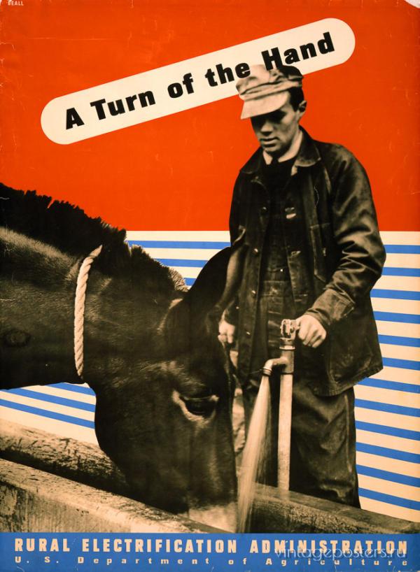 """Купить для интерьера на стену Постер """"Электрификация. A Turn of the Hand"""" США 1930"""