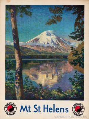 """Купить для интерьера на стену Постер """"Вулкан Сент-Хеленс в Каскадных горах"""" США 1920"""