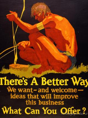 """Купить для интерьера на стену Постер """"There's A Better Way. Что вы можете предложить?"""" Чикаго 1929"""