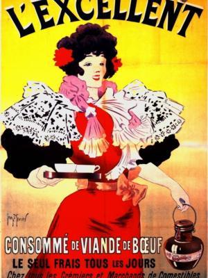 """Купить для интерьера на стену Постер """"L'exsellent. Консоме из говядины"""" Париж 1895"""
