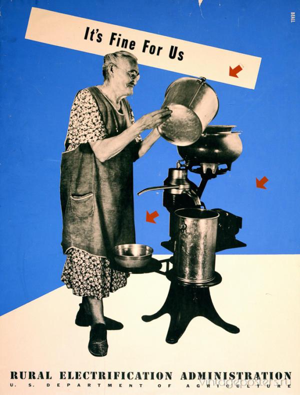 """Купить для интерьера на стену Постер """"Электрификация. Это хорошо для нас"""" США 1930"""