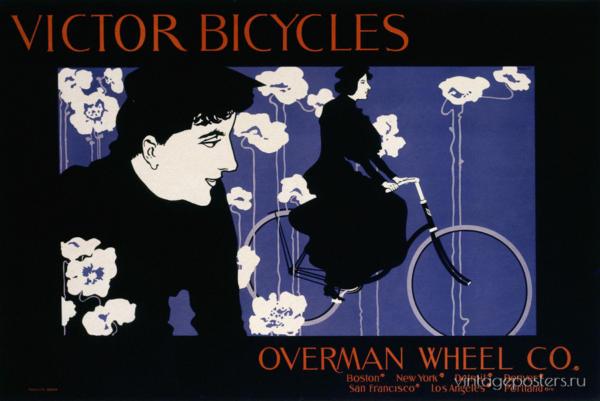 """Купить для интерьера на стену Постер """"Велосипеды Victor"""" Бостон 1896"""