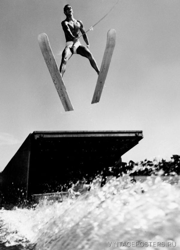 """Купить для интерьера на стену Постер """"Чемпионат мира по прыжкам на водных лыжах"""" США 1957"""