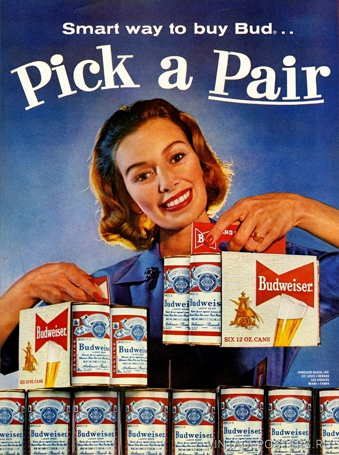 """Купить для интерьера на стену Постер """"Budweiser. Возьми две"""" США 1960"""