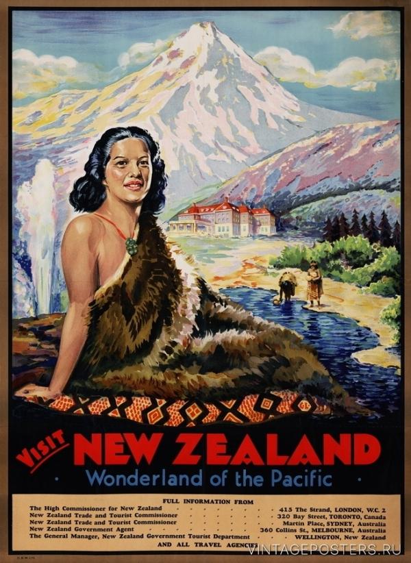 """Купить для интерьера на стену Постер """"Посетите тихоокеанскую страну чудес"""" Новая Зеландия 1935"""
