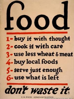"""Купить для интерьера на стену Постер """"Еда - не выкидывайте ее"""" Нью-Йорк 1917"""